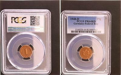 1 Pfennig 1948 D Bank Of German Countries Proof PCGS PR64RD