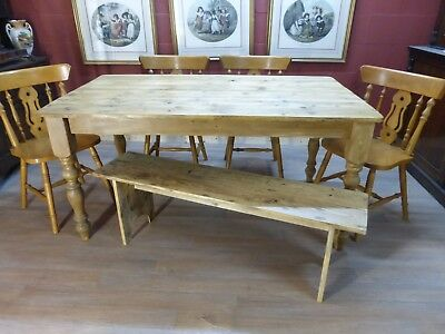 large pine table dining table kitchen table + 4 chairs and 1 bench  vintage
