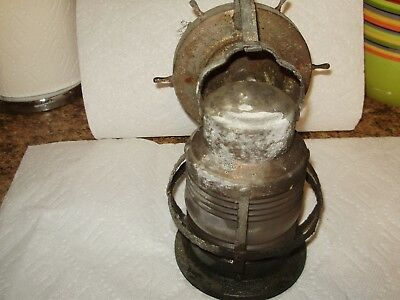 Vintage Copper Porch Scone Cage Light Jelly Jar Globe Old Wall Fixture Nautical
