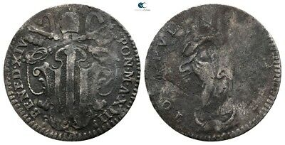 Savoca Coins Vatican Rome Benedict XIV Grosso Silver 1,05 g / 19 mm $KBR7192