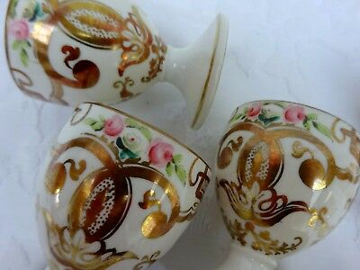 6 x Egg Cups Pretty Hand Painted Floral Rose Swag Antique Gold Gilt