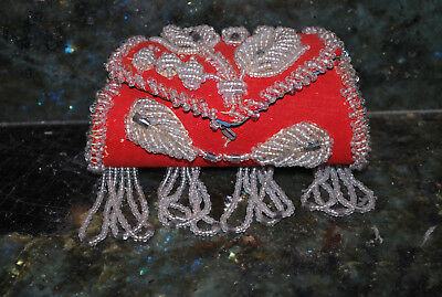 Antique heavy Iroquois beaded RED purse high relief pre-Victorian