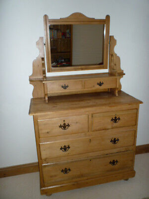 Victorian Clear pine dressing chest of drawers,with mirror over