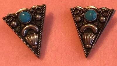 Alpaca Collar Tips Turquoise Accent Rope Twist  Design Marked  Mexico