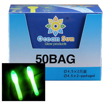 100PCS 4.5*37mm Big Head Glow Stick Fishing Green Wand Tube Fishing Glow Sticks