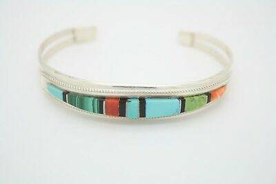 Hand Cut & Hand Made NAVAJO Sterling Silver Inlay Cuff BEAUTIFUL COLORS
