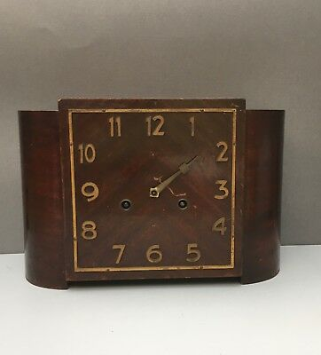 Art Deco Mantel Clock  A/F Gustav Becker Walnut Veneer 8 day Chime antique