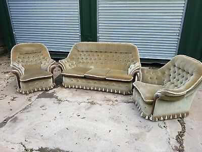 Vintage Velvet  sofa and 2 chairs