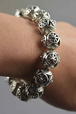 Collectable Handwork Miao Silver Carve Fashion Flower Bring Happiness Bracelet