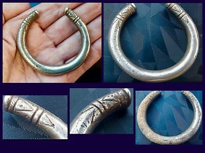 Very Rare Ancient Heavy Silver Snake Torc Zoomorphic Bracelet C9th !11th Cent AD
