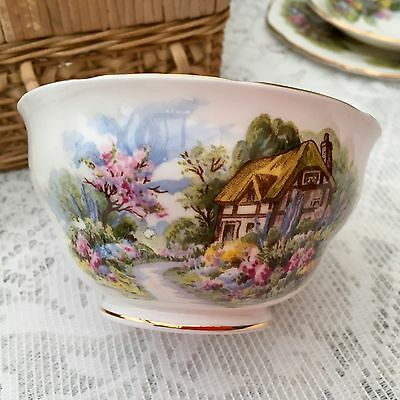 ROYAL VALE BONE CHINA 1960s SUGAR BOWL THATCHED COUNTRY COTTAGE (GARDEN INSIDE)