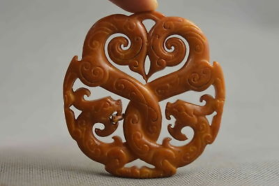 Collectable Handwork Old Jade Carve Exorcism Dragon Noble Special Rare Pendant