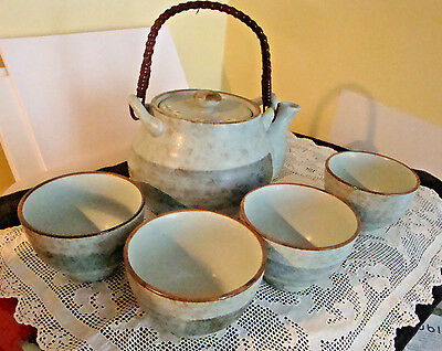 Vintage Tea Pot Set Japanese Earthenware with Rattan Handle 4 Cups Marked