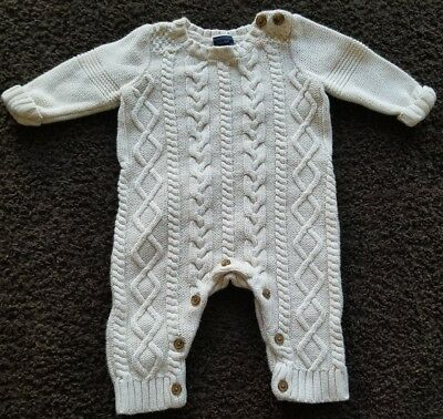 baby Gap chunky knit white onsie size 3-6 months