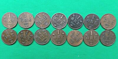 Lot of 14 Different Old Sweden 1 ore Coins 1890-1907 Vintage Swedish !!