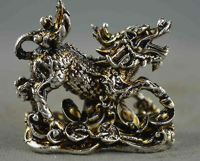 Collectable Handwork Miao Silver Carve Roar Kylin Bite Wealthy Exorcism Statue
