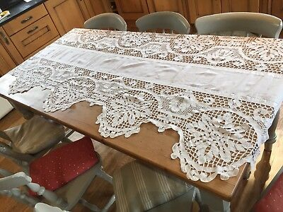 Very Large Antique Lace Table Cloth/ Fabric
