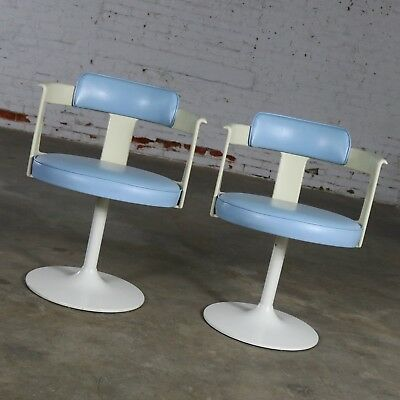 Daystrom Furniture Tulip Style Swivel Chairs in Baby Blue and White Mid Century