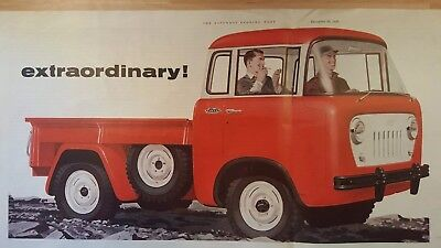 1956 Jeep FC-150 Willys red truck vintage trade print ad, full centerfold