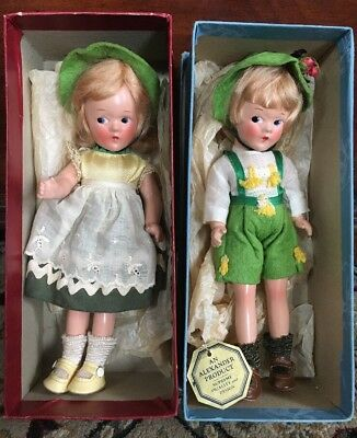 "Vintage 1930's Madame Alexander 9"" Swiss Girl & Boy in Original Boxes & Tagged"