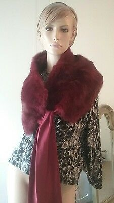 lord  and Taylor  vintage   rabbit  fur collar  burgundy  color .