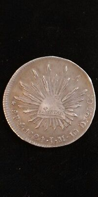 Mexico 1824 Libertad Silver Cap & Rays Crown  In Circulated Condition