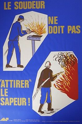 Very Rare ORIGINAL Vintage FRENCH SAFETY POSTER Fire design AINF seriograph