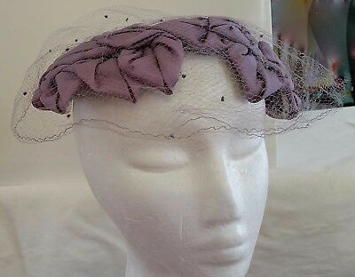 Vintage 1950s MAUVE PURPLE Crown Whimsy NET COVERED DAY CHURCH HAT