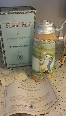 """Norman Rockwell Museum """"Fishin Pals"""" Fishing Collector's Stein with Certificate"""