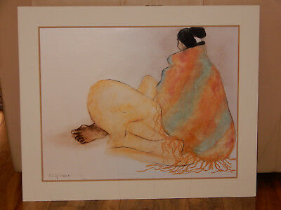 "Rc Gorman 1977 Signed & Dated ""angelina's Shawl""  Matted & Framed Under Glass"