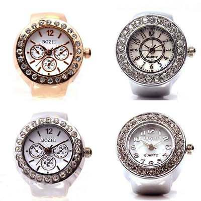 Unisex Men Women Steel Rhinestone Elastic Dial Analog Quartz Finger Ring Watches
