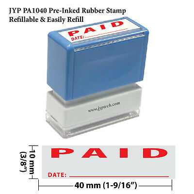 "JYP PA1040 Pre-Inked Rubber Stamp with ""Paid and Date"""