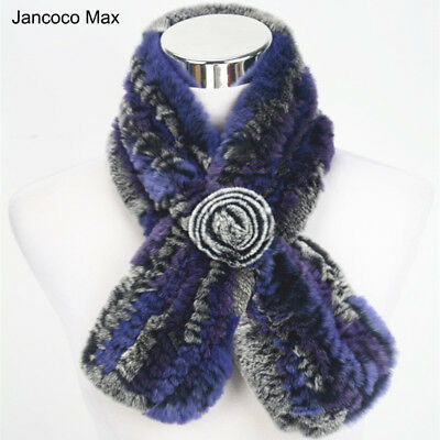 Female Thick Knitted Real Rex Rabbit Fur Scarf Women Winter Warm Shawl 91528