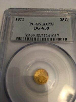 1871 California Gold 25c Fractional Currency Liberty Round *PCGS AU58* BG-838