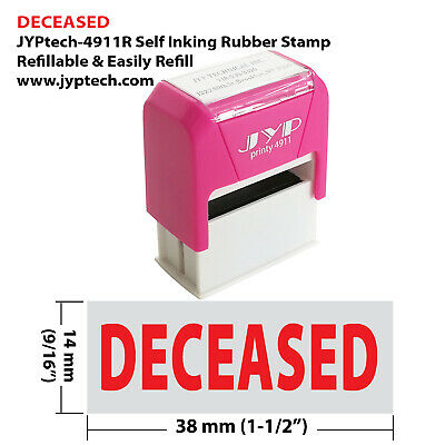 "JYP PA1040 Rectangle Stock Pre-Inked Rubber Stamp with ""Deceased"""