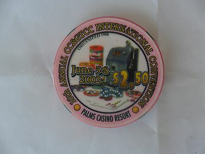 $2.50 Palms 2002 Cc & Gtcc Convention Chip