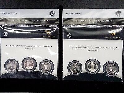 2010 US Mint Hot Springs National Park ATB Quarters 3 Coin Set Sealed - New