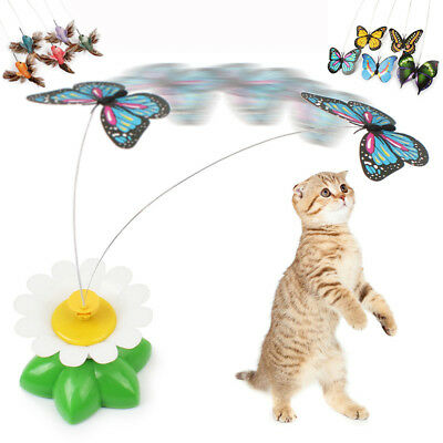 Electric Rotating Butterfly Bird Rod Wire Cat Teaser Toys For Pet Cats Kittens I