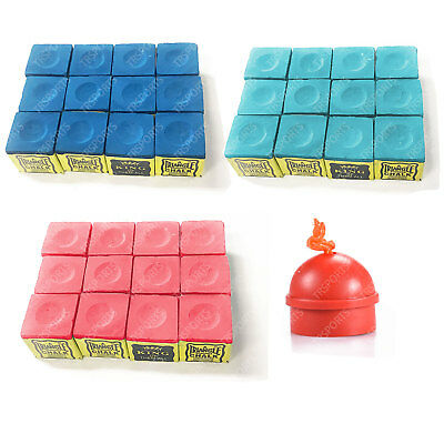 12 Pcs Triangle Chalks & Chalk Holder Pack for Pool Snooker Cue Billiard Game