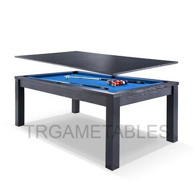 7FT Billiard Dining Walnut / Blue Table for Pool Snooker Billiard Living room