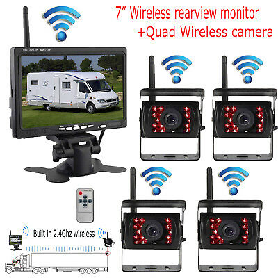 "Quad Wireless IR Rear View Back up Camera System 7"" Monitor For Truck RV 12-24V"
