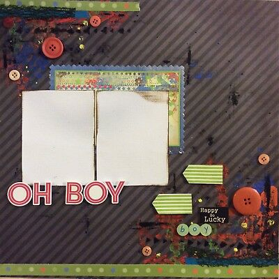 handmade scrapbook page 12 X 12 Oh Boy Themed Layout