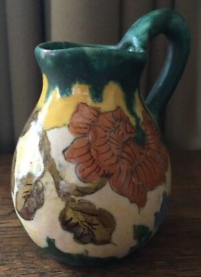 "Vintage Miniature Gouda Holland 4"" Pitcher w/ Handle Matte Green Orange Yellow"