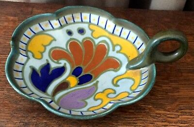 "Vintage 1925 Gouda Metz Royal Zuid-Holland, One-Handle Candy Dish, 6 5/8"" wide"