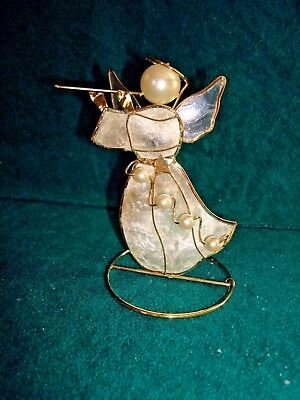 Capiz Shell Angel Playing Flute Pearl Head And Accents