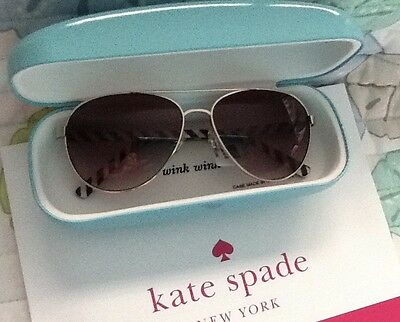 NWT KATE SPADE SUNGLASSES BLOSSOM AVIATOR GOLD/BLACK SUNGLASSES with CASE