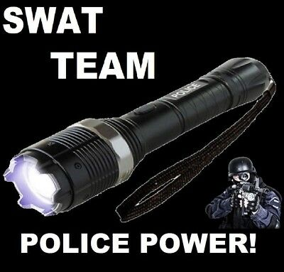 Black SWAT TEAM 1250 MILLION VOLT Stun Gun LED FlashLight With Taser Holster