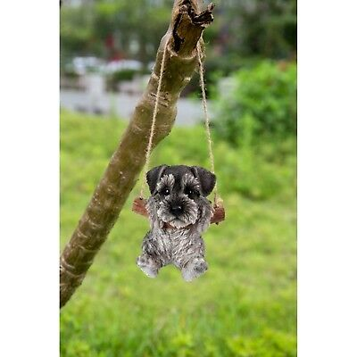 Schnauzer Puppy Dog Hanging Life Like Realistic Figurine Home Garden Decor