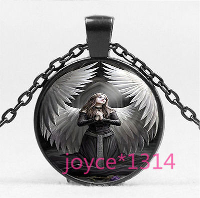 STUNNING ANGEL WITH SWORD ANNE STOKES DARK GOTH Necklace DEATH Glass PENDANT