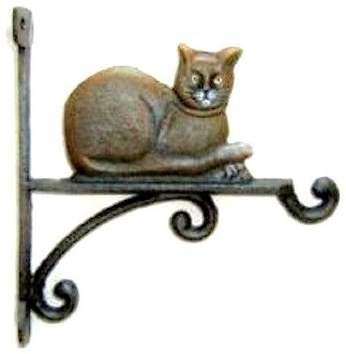 """Cast Iron Cat Kitty Plant Hanger Large 10"""" Decor Home Yard Garden Shed Free Ship"""